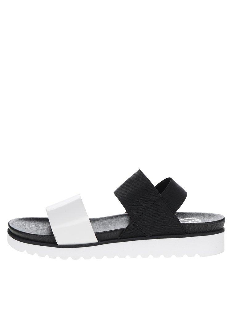 Sandale alb&negru OJJU cu baretă elastică