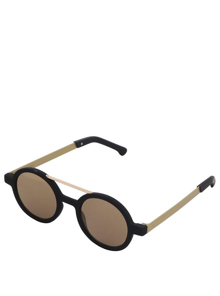 Černé kulaté unisex sluneční brýle s detaily ve zlaté barvě Komono Vivien