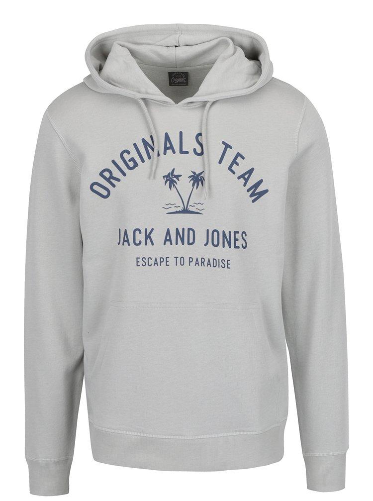 Hanorac gri deschis Jack & Jones Tropical cu glugă