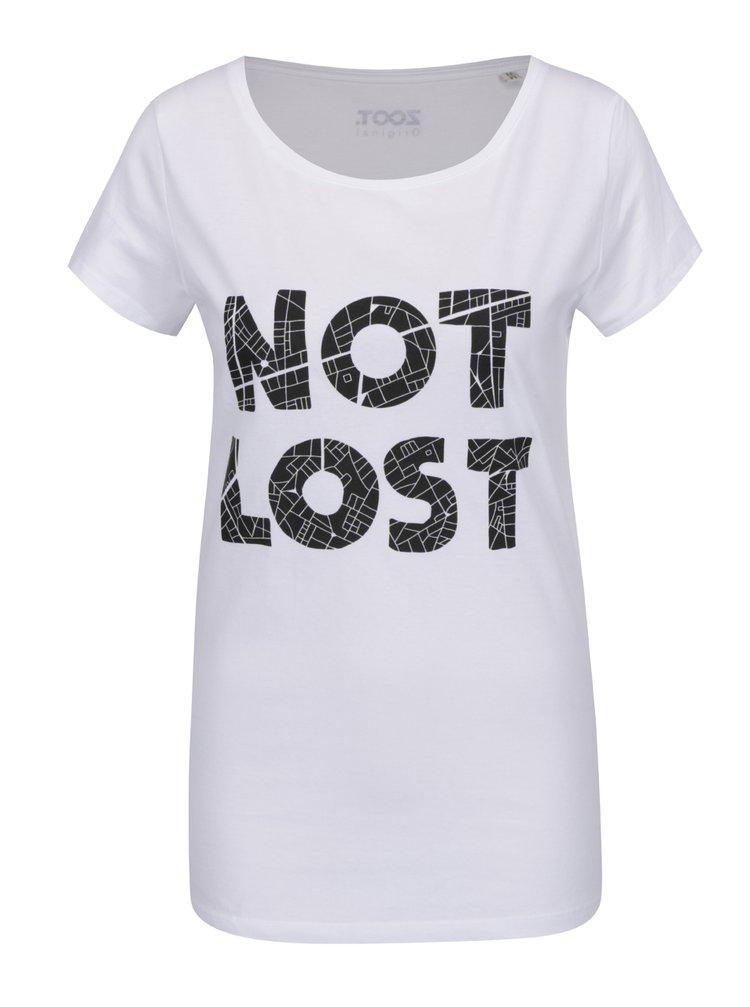Tricou alb cu text ZOOT Original Not Lost de damă
