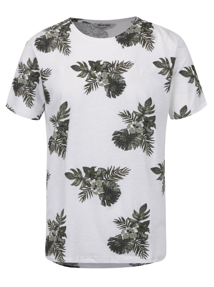 Bílo-zelené květované triko ONLY & SONS That