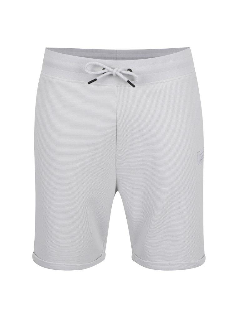 Pantaloni sport scurți albi Jack & Jones Otto cu striații