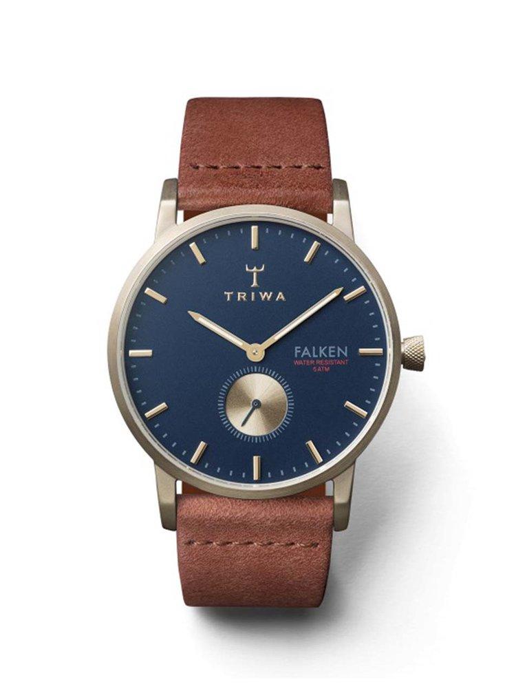 Unisex hodinky ve zlaté barvě s hnědým koženým páskem TRIWA Loch Falken