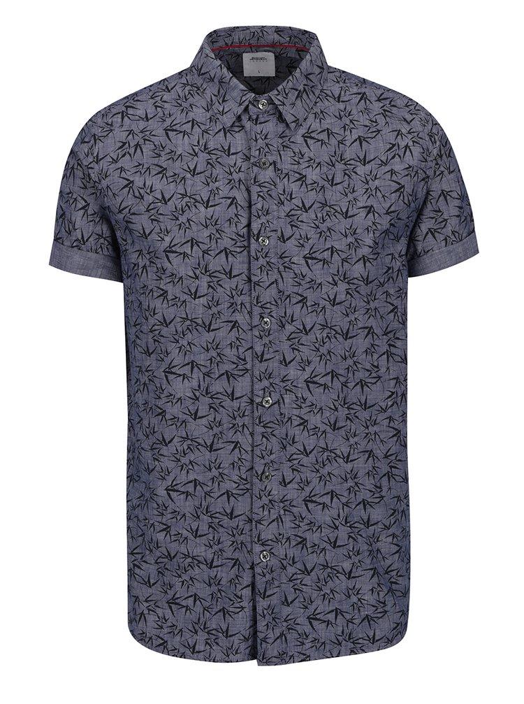 Modrá vzorovaná košile s krátkým rukávem Burton Menswear London