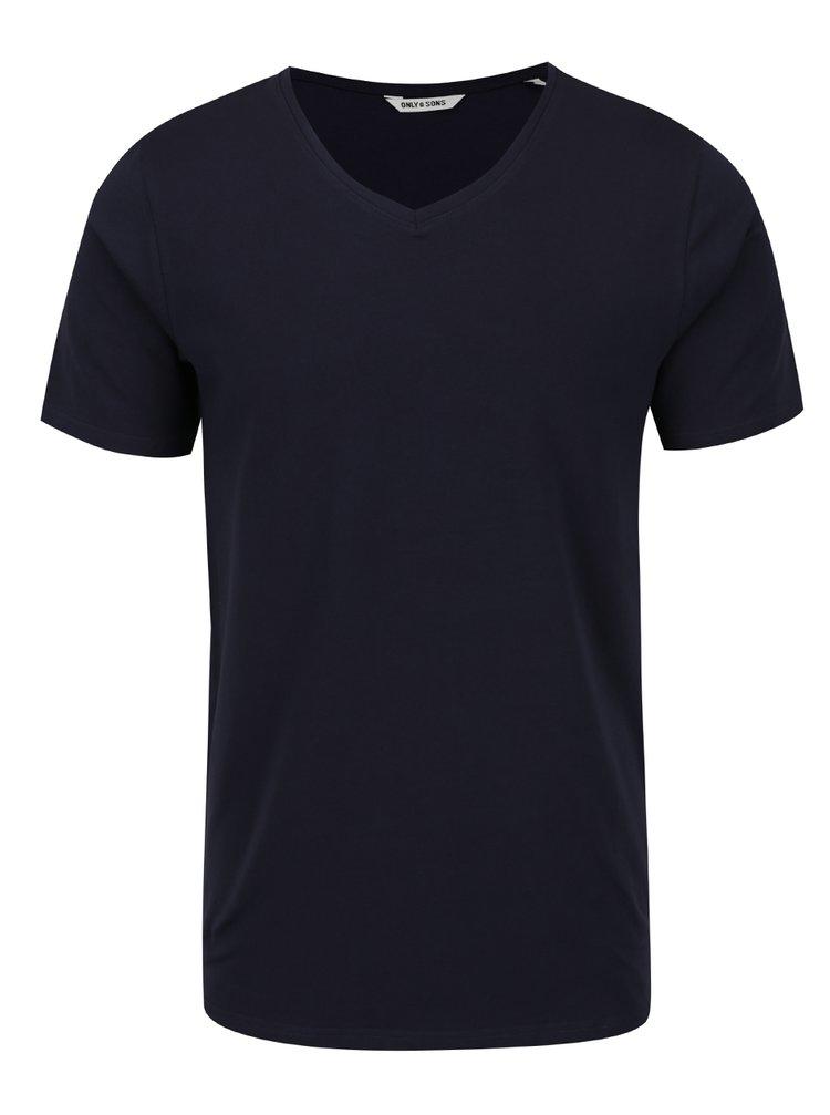 Tricou albastru închis ONLY & SONS Basic