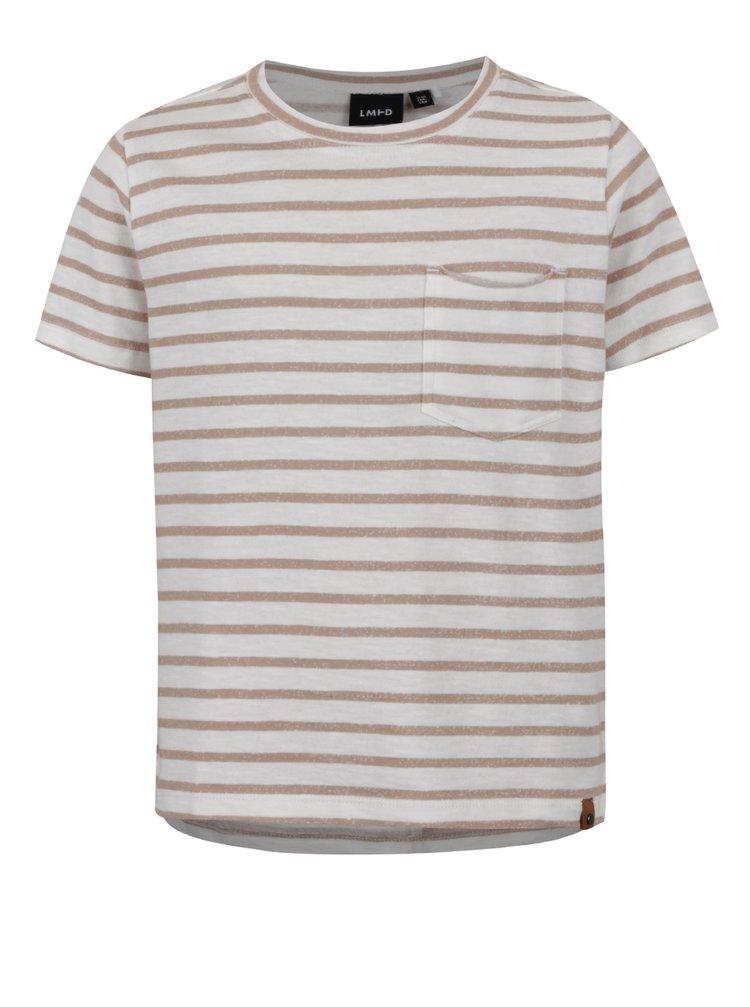 Krémovo-hnědé klučičí pruhované triko s kapsou LIMITED by name it Sigger