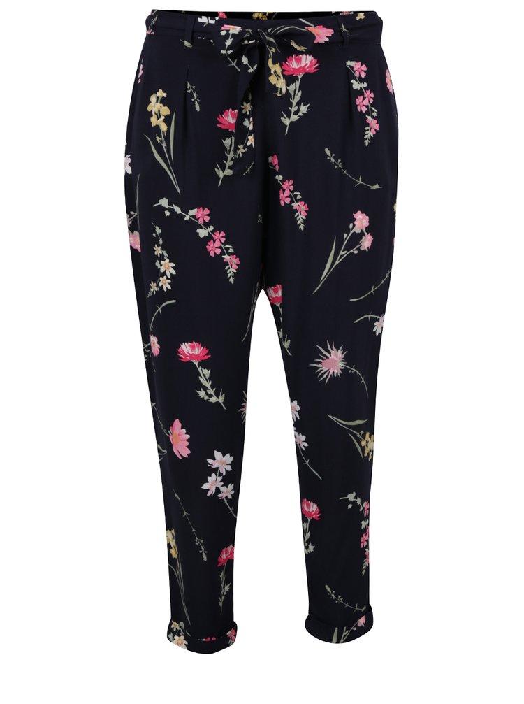 Pantaloni bleumarin Dorothy Perkins Petite cu imprimeu floral
