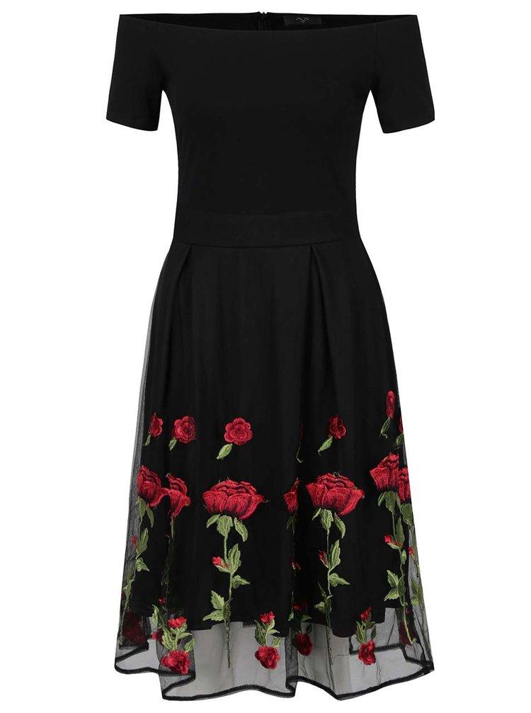 Rochie neagră AX Paris cu aplicații florale