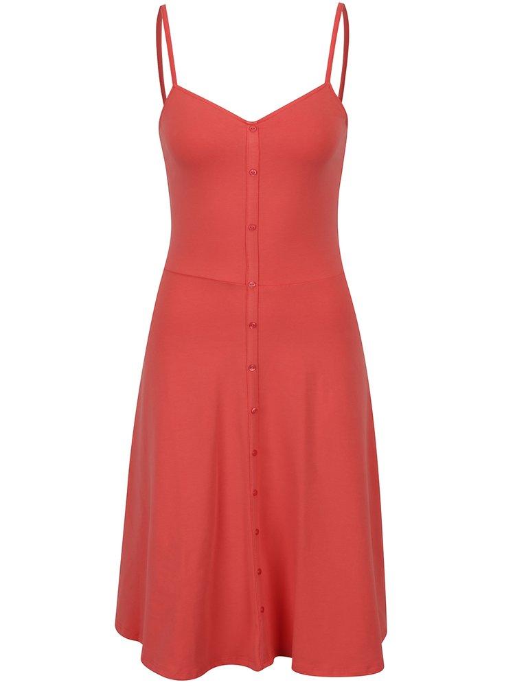 Růžové šaty na ramínka s knoflíky Dorothy Perkins Tall