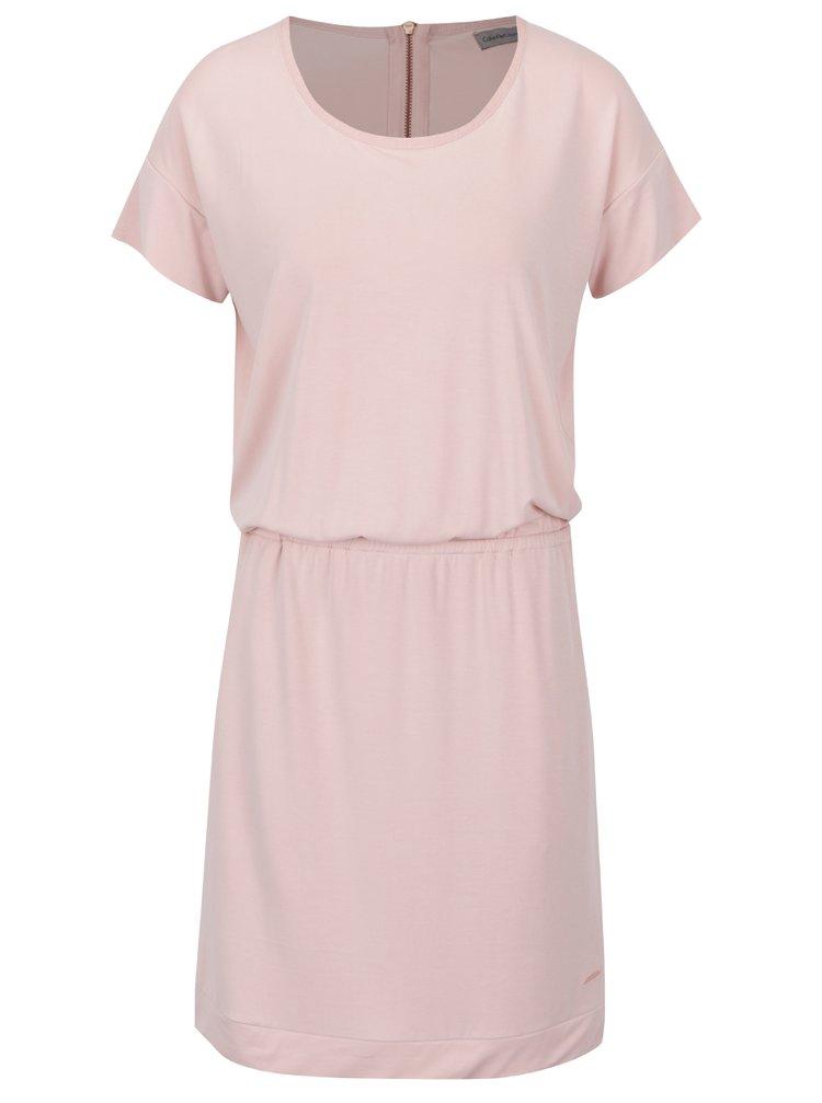 Růžové šaty s průstřihem na zádech Calvin Klein Jeans Delaney