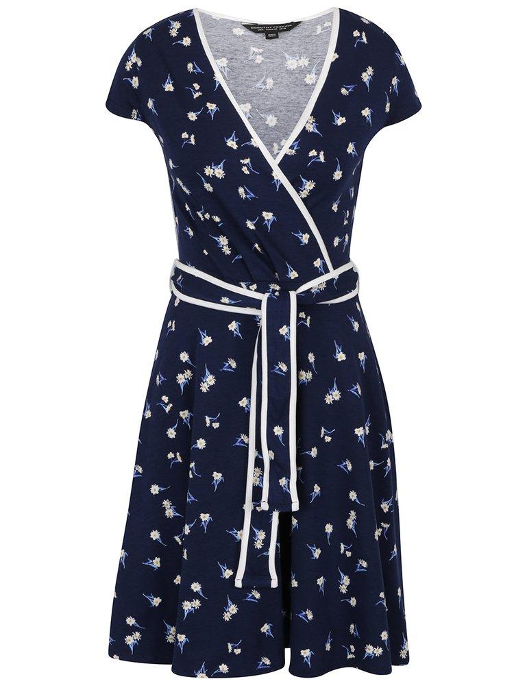 Tmavě modré květované šaty s překládaným topem Dorothy Perkins