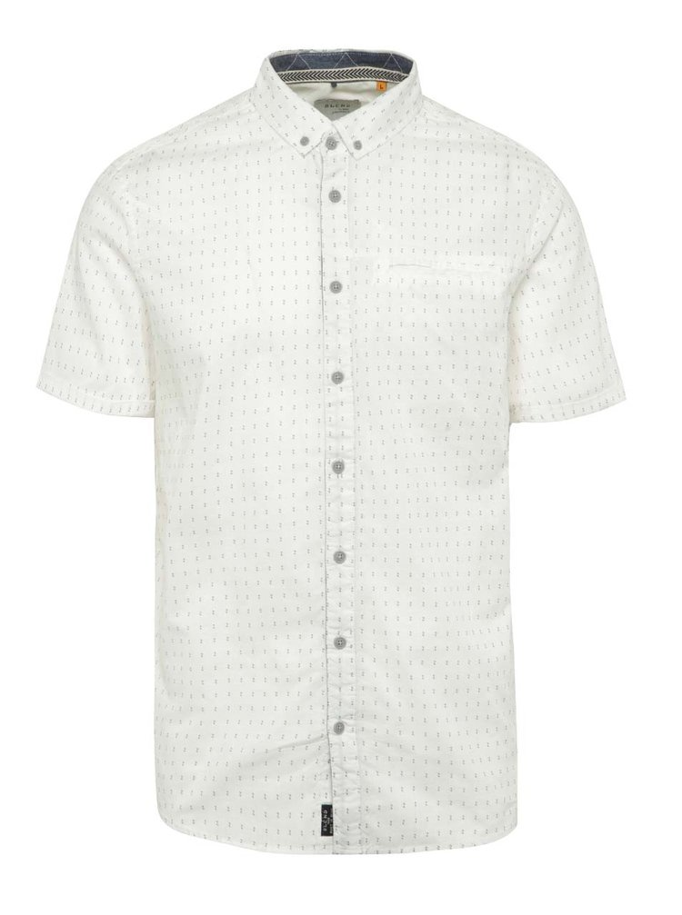 Krémová vzorovaná košile s krátkým rukávem Blend