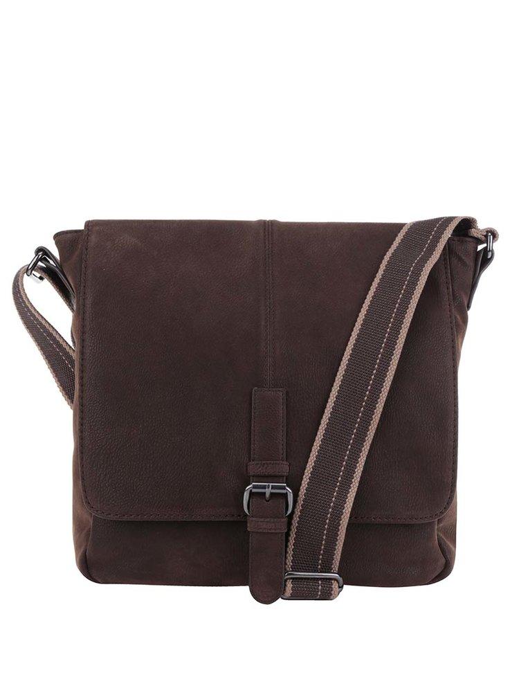 Tmavě hnědá pánská crossbody taška s.Oliver