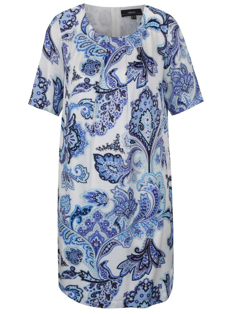 Krémové vzorované šaty s příměsí hedvábí NISSA