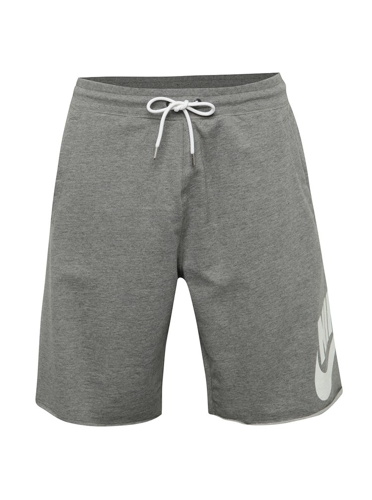 Tmavě šedé pánské teplákové loose fit kraťasy Nike