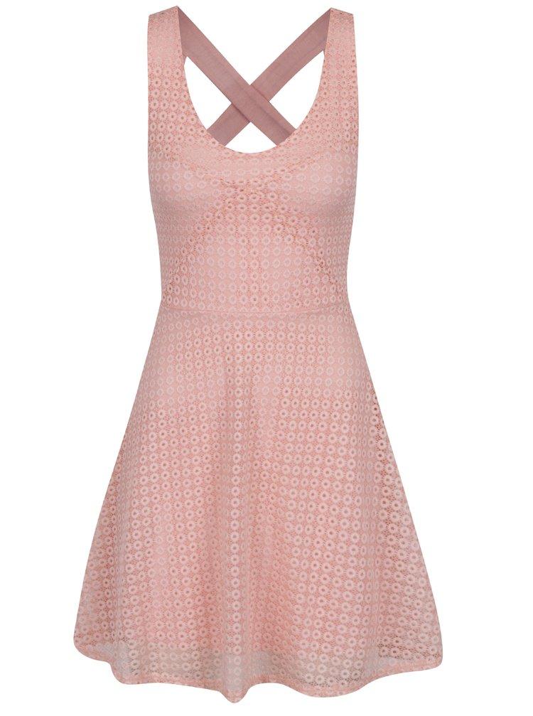 Rochie roz din dantelă Haily´s Hedda cu bretele încucișate la spate