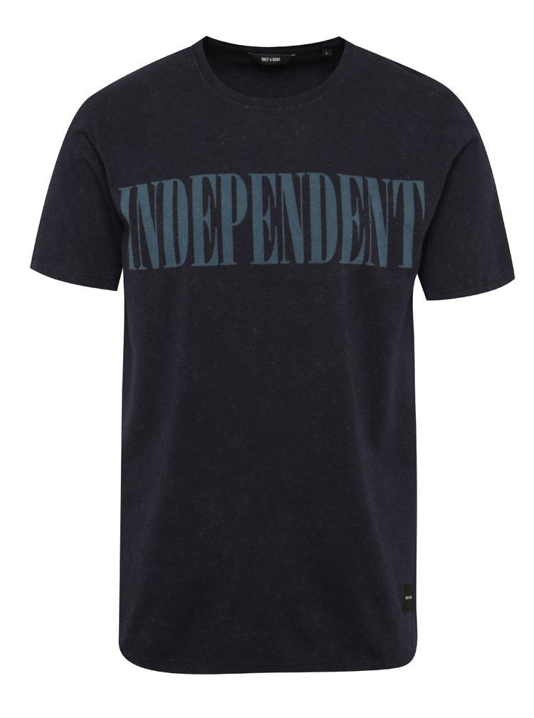 Tricou albastru inchis ONLY & SONS Ingmar cu print