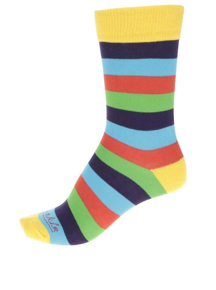 Modro-žluté unisex pruhované ponožky Fusakle Multikulturalista
