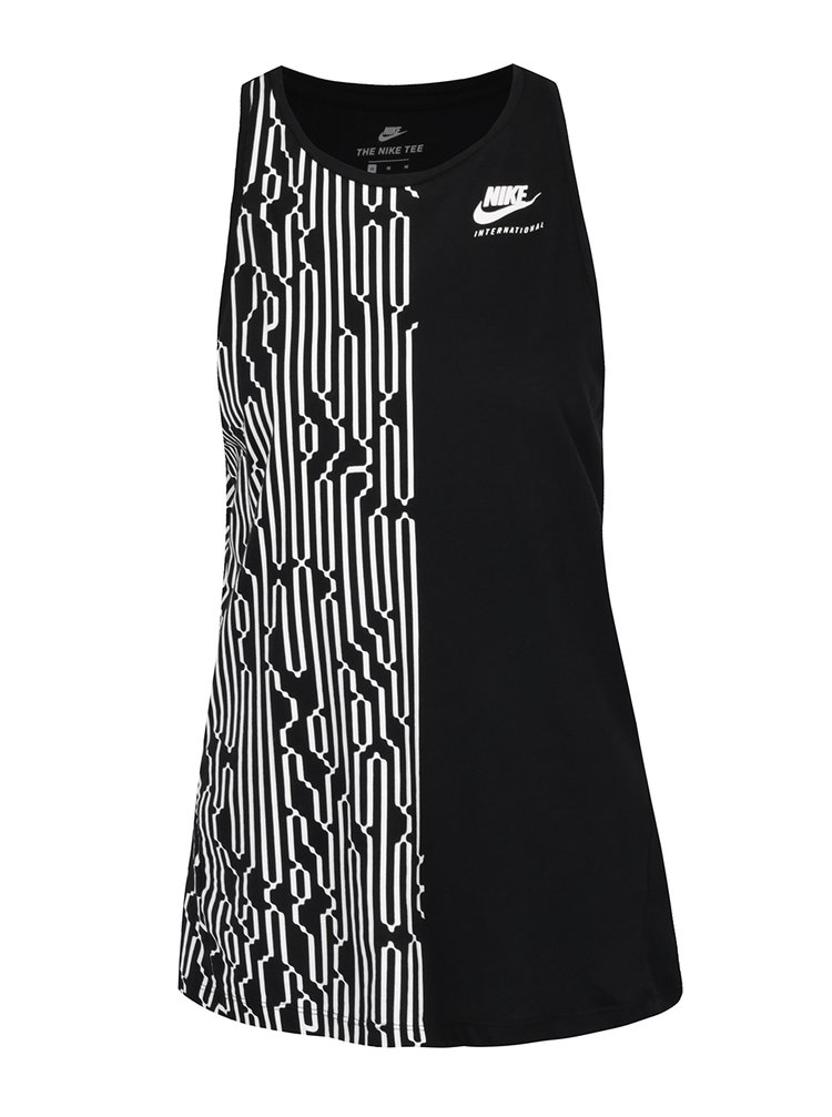 Top negru Nike cu model geometric
