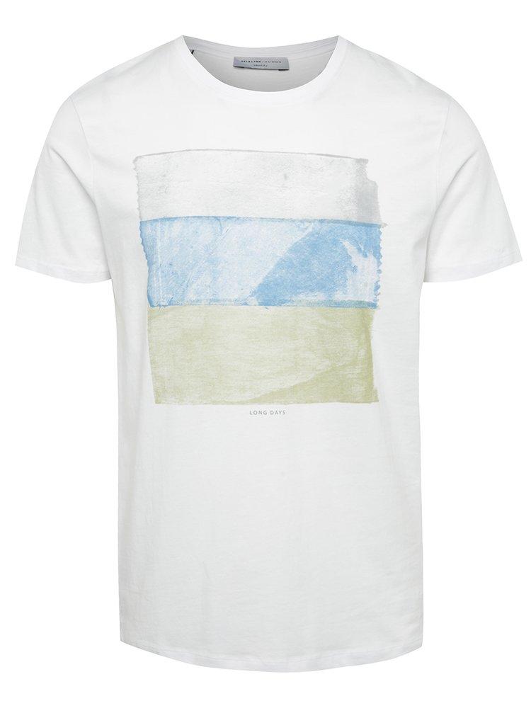 Tricou alb Selected Homme Noam cu print