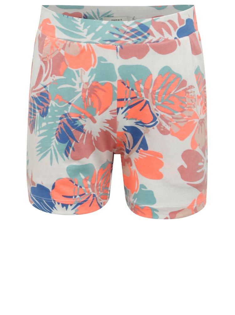 Pantaloni scurți albi pentru fete cu model floral name it Viggajo