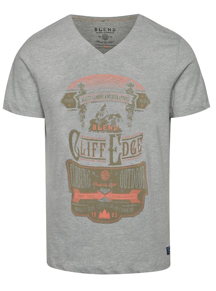 Tricou gri Blend cu print