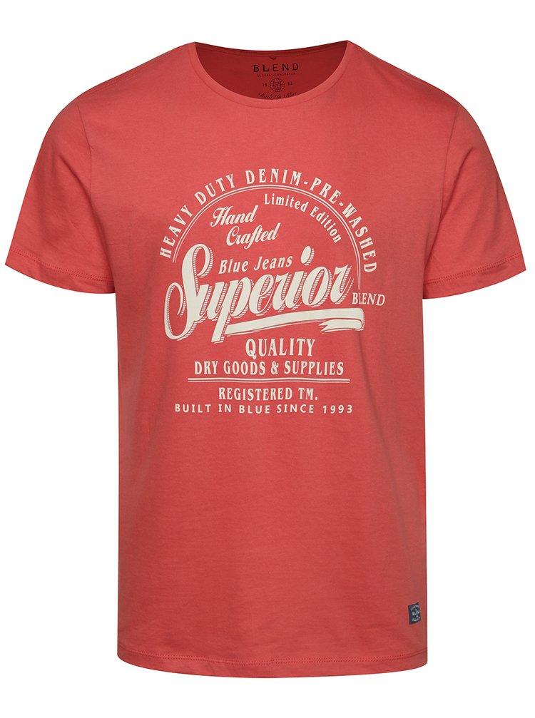 Červené triko s krátkým rukávem a potiskem Blend