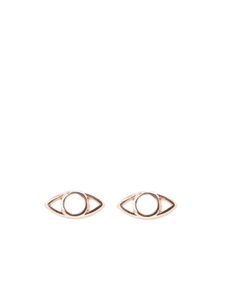 Pozlacené náušnice v růžovozlaté barvě ve tvaru očí Pilgrim