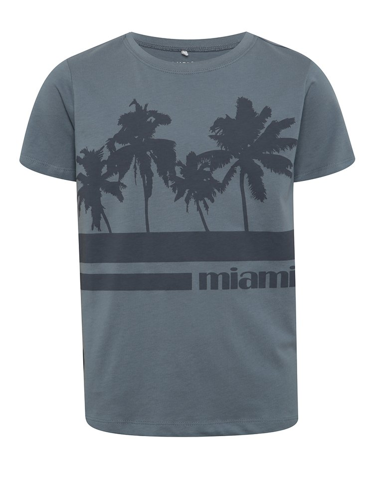 Tricou albastru cu print frontal pentru băieți LIMITED by name it Victornur