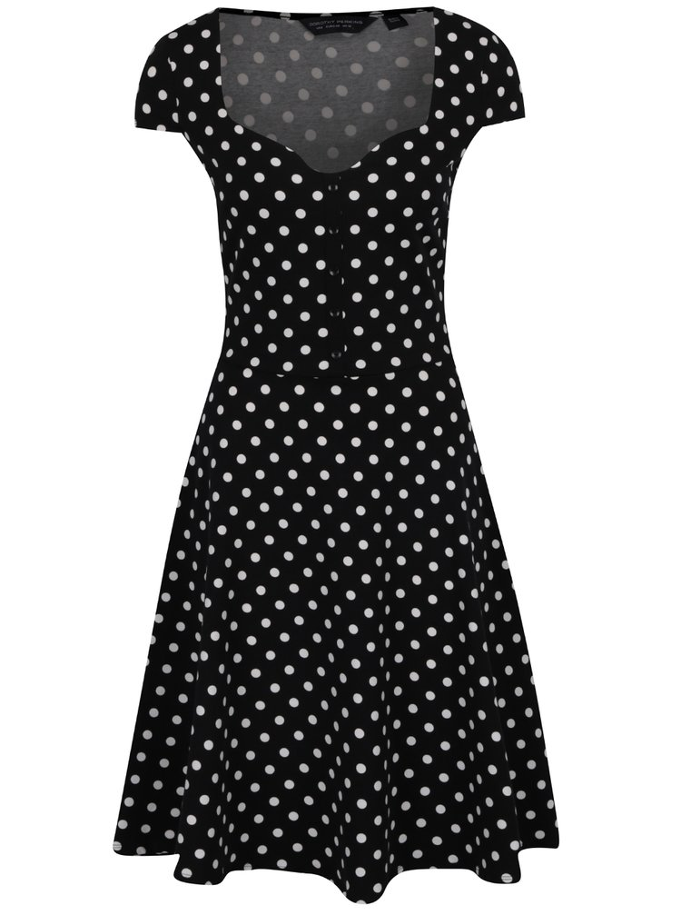 Černé puntíkované šaty Dorothy Perkins Tall
