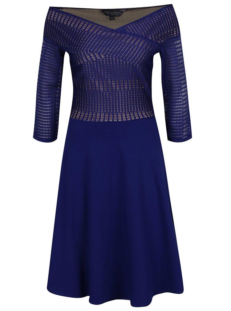 Tmavě modré šaty s odhalenými rameny a 3/4 rukávem Dorothy Perkins Tall