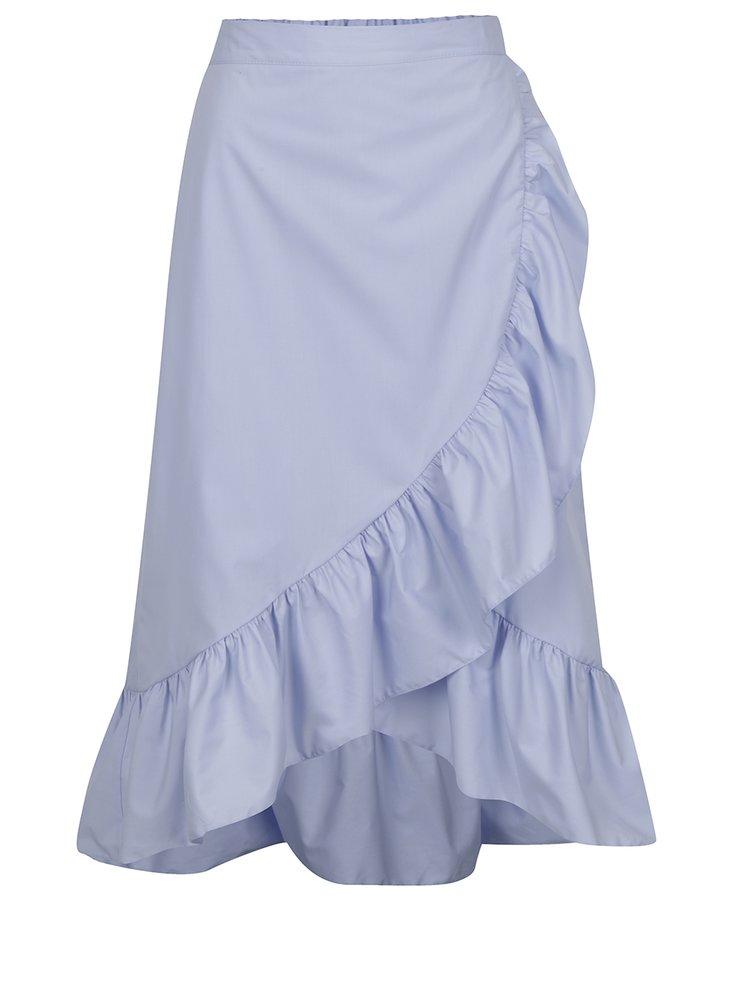 Světle modrá zavinovací midi sukně Miss Selfridge
