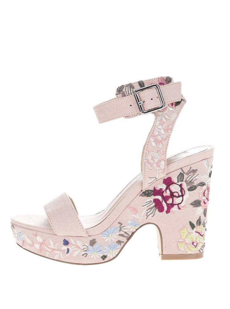 Světle béžové sandálky s vyšitými květy Miss Selfridge