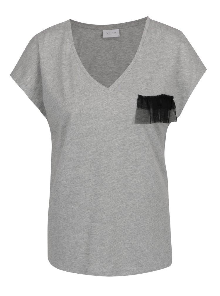 Šedé tričko s ozdobným detailem VILA Dreamers
