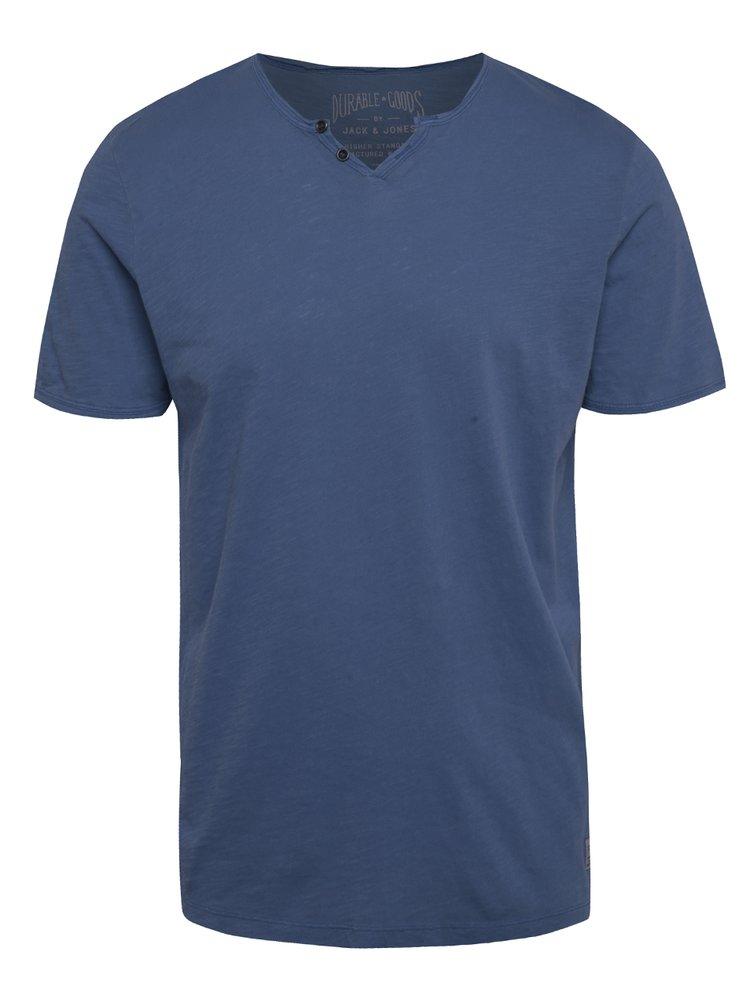 Tricou albastru Jack & Jones Ben din bumbac