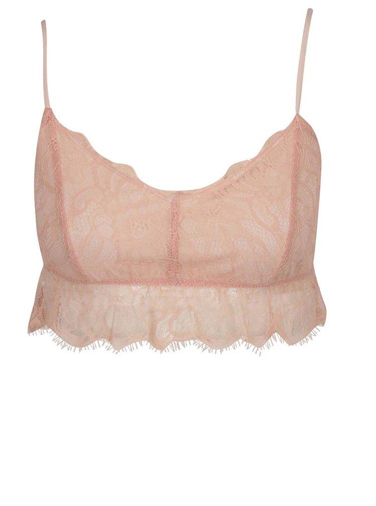 Světle růžová krajková podprsenka Miss Selfridge