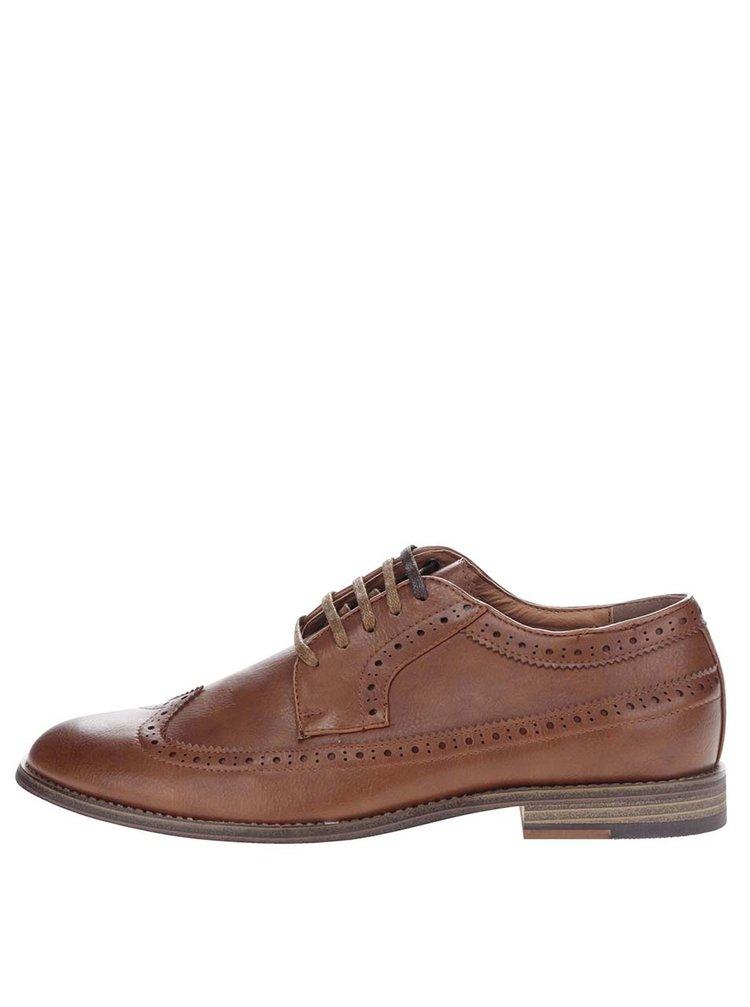Pantofi brogue maro Burton Menswear London