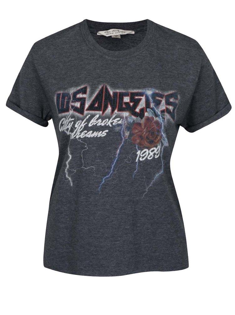 Šedé žíhané tričko s potiskem Miss Selfridge