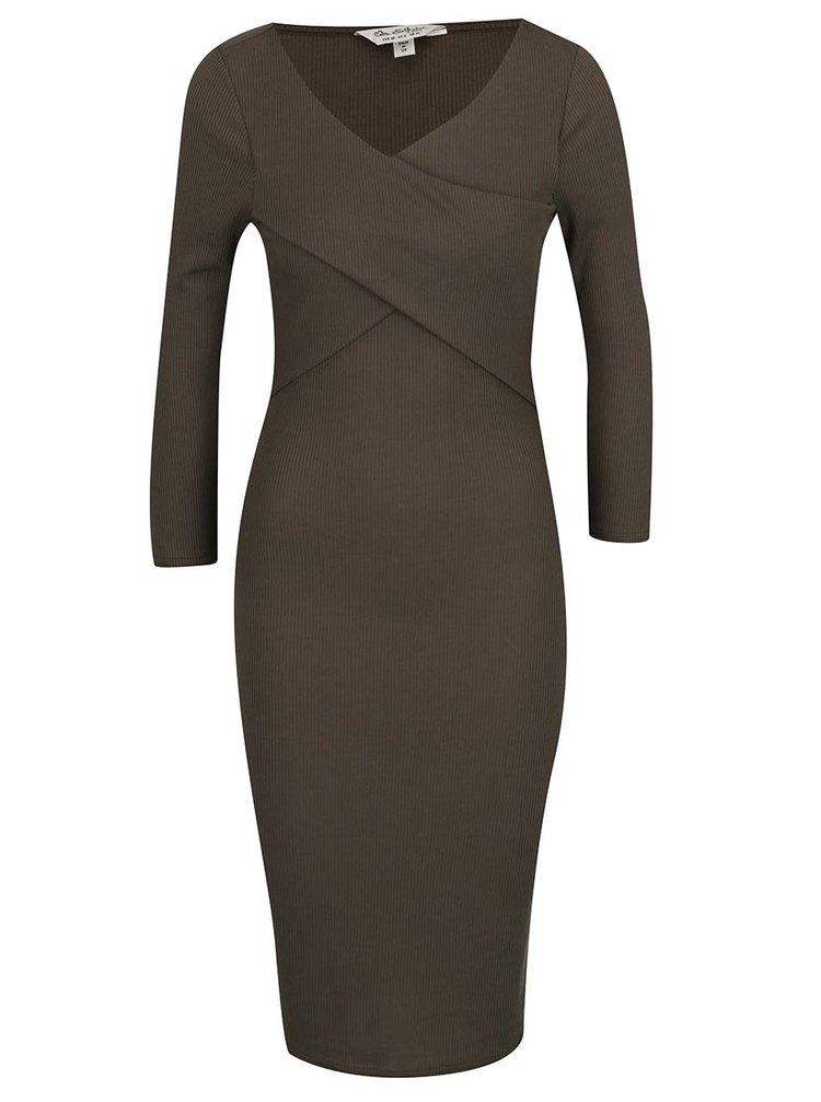 Khaki šaty s překládaným dekoltem a 3/4 rukávy Miss Selfridge