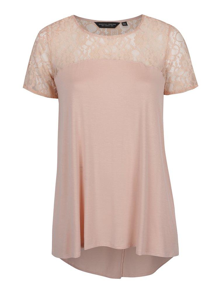 Růžové tričko s překládaným zadním dílem Dorothy Perkins Curve