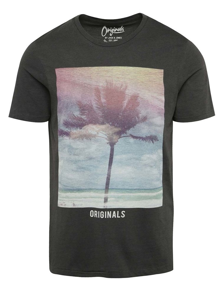 Tricou gri Jack & Jones Creek cu print