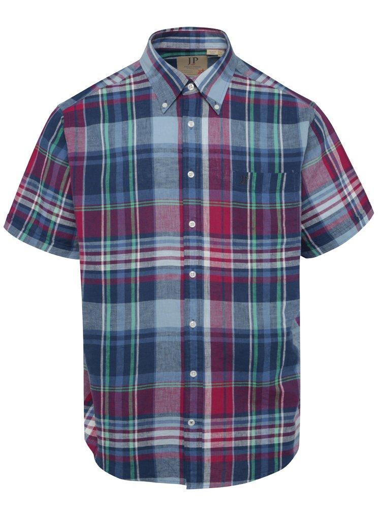 Fialovo-modrá lněná, kostkovaná košile s krátkým rukávem JP 1880