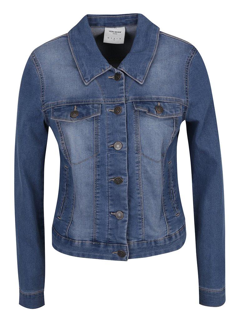Modrá džínová bunda s vyšisovaným efektem VERO MODA New Soya