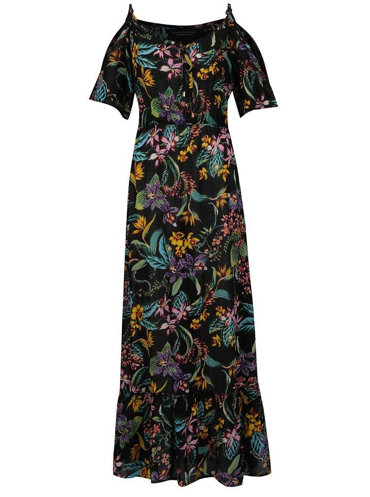 Černé maxišaty s květovaným vzorem Dorothy Perkins