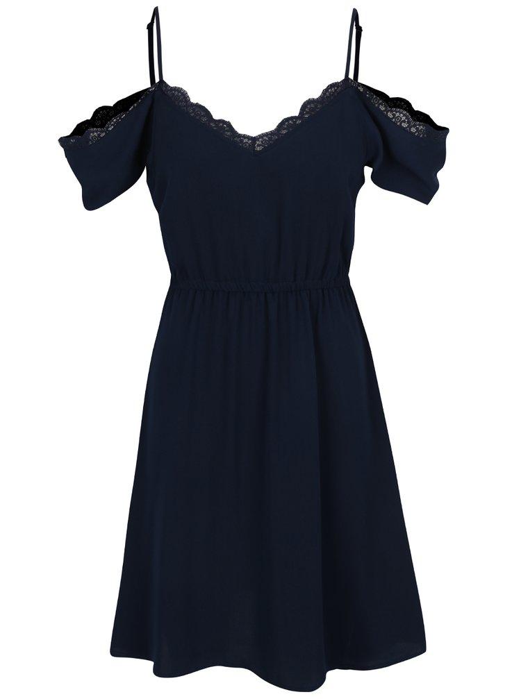 Tmavě modré šaty s průstřihy na ramenou a krajkovým lemem VERO MODA Mille