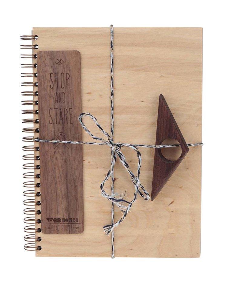 Set dřevěného zápisníku, záložky a zarážky do knihy Woodish