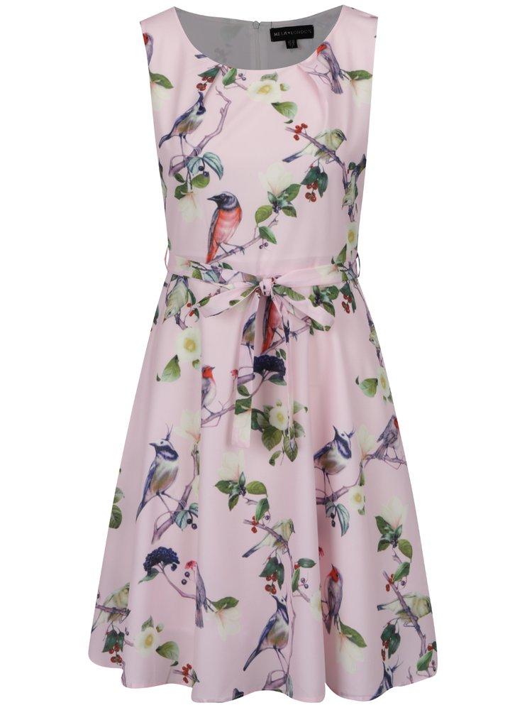 Světle růžové vzorované šaty s páskem Mela London