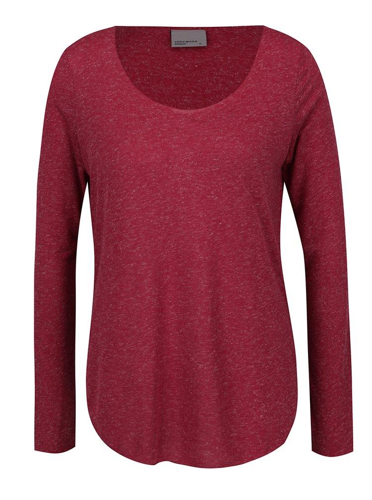 Bluză roșu melanj VERO MODA Lua cu decolteu rotund