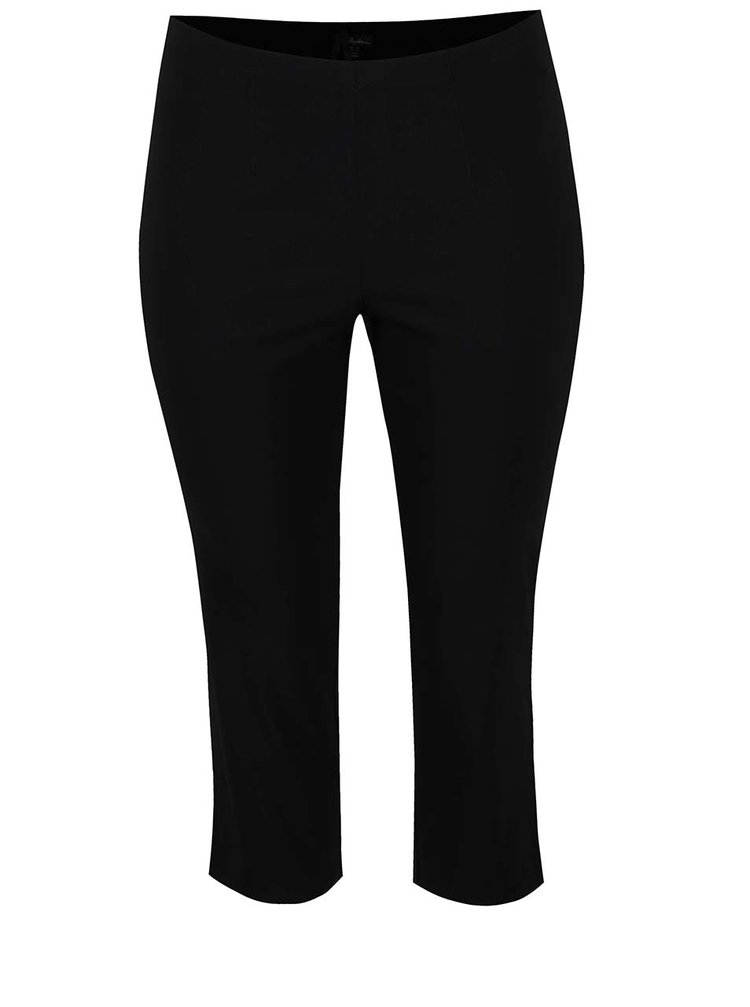 Čierne skrátené nohavice s elastickým pásom Ulla Popken