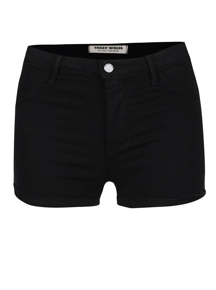 Pantaloni scurți negri TALLY WEiJL cu talie înaltă